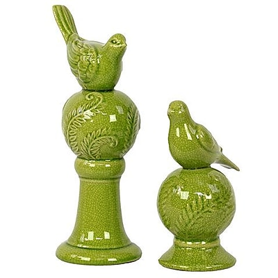 Woodland Imports 2 Piece Stoneware Birds Perched Atop Ball Columns Figurine Set