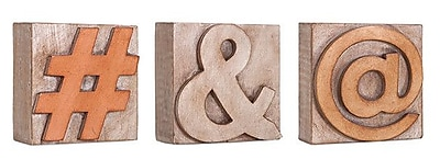 Woodland Imports 3 Piece Letterpress Symbols Letter Block Set