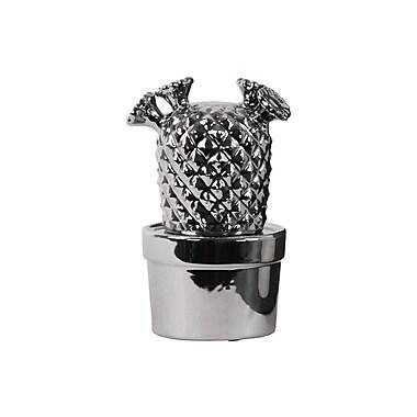 Urban Trends Ceramic Cactus w/ Flowers Sculpture; Silver