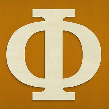 Unfinished Wood Co. Oversized Wood Greek Letter Wall D cor; Phi
