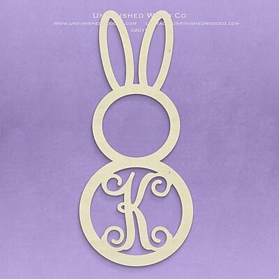 Unfinished Wood Co. Unfinished Monogram Bunny Decor; K