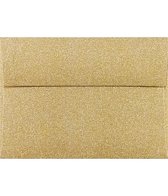 LUX A7 Invitation Envelopes (5 1/4 x 7 1/4) 50/Box, Gold Sparkle (5370-MS02-50)