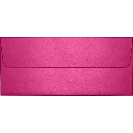 "LUX® 4 1/8"" x 9 1/2"" #10 80lbs. Square Flap Envelopes W/Glue Closure, Azalea Metallic Pink"