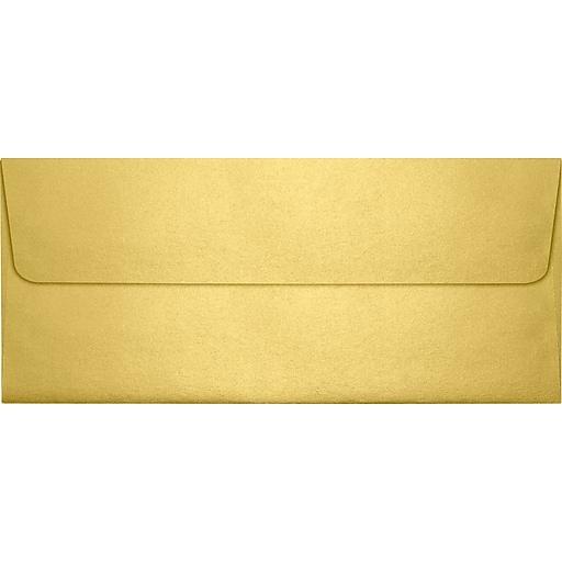 "LUX® 4 1/8"" x 9 1/2"" #10 80lbs. Square Flap Envelopes W/Glue Closure, Gold Metallic"