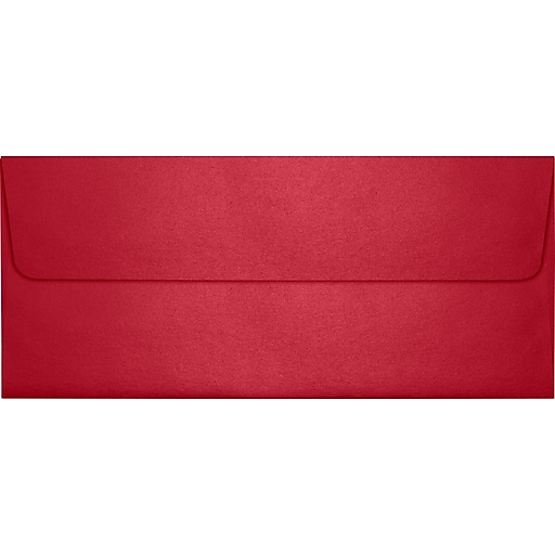 "LUX® 4 1/8"" x 9 1/2"" #10 80lbs. Square Flap Envelopes W/Glue Closure, Jupiter Metallic Red Red"