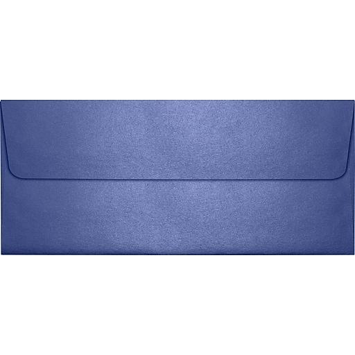 "LUX® 4 1/8"" x 9 1/2"" #10 80lbs. Square Flap Envelopes W/Glue Closure, Sapphire Metallic Blue"