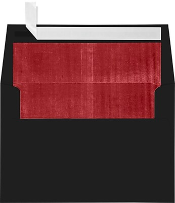 LUX A4 Foil Lined Invitation Envelopes (4 1/4 x 6 1/4) 250/Box, Black w/Red LUX Lining (FLBK4872-01-250)