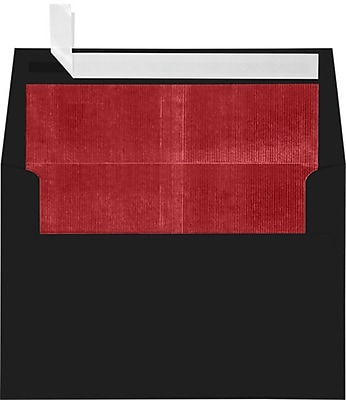 LUX A4 Foil Lined Invitation Envelopes (4 1/4 x 6 1/4) 1000/Box, Black w/Red LUX Lining (FLBK4872-01-100)