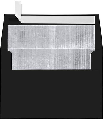 LUX A4 Foil Lined Invitation Envelopes (4 1/4 x 6 1/4) 250/Box, Black w/Silver LUX Lining (FLBK4872-03-250)