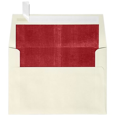 LUX A4 Foil Lined Invitation Envelopes (4 1/4 x 6 1/4) 100/Box, Natural w/Red LUX Lining (FLNT4872-01-100)