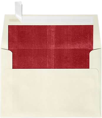 LUX A4 Foil Lined Invitation Envelopes (4 1/4 x 6 1/4) 250/Box, Natural w/Red LUX Lining (FLNT4872-01-250)