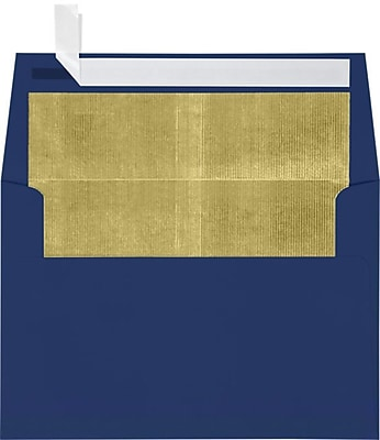 LUX A4 Foil Lined Invitation Envelopes (4 1/4 x 6 1/4) 250/Box, Navy w/Gold LUX Lining (FLNV4872-04-250)