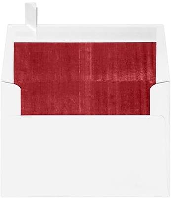 LUX A4 Foil Lined Invitation Envelopes (4 1/4 x 6 1/4) 250/Box, White w/Red LUX Lining (FLWH4872-01-250)