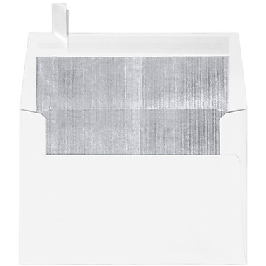 LUX A4 Foil Lined Invitation Envelopes (4 1/4 x 6 1/4) 50/Box, White w/Silver LUX Lining (FLWH4872-03-50)