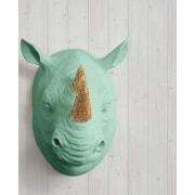 Wall Charmers Serengeti Faux Taxidermy Rhinocerous Head Wall D cor; Mint Green/Gold Glitter