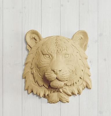 Wall Charmers Siberian Faux Taxidermy Mini Tiger Head Wall D cor; Khaki Brown