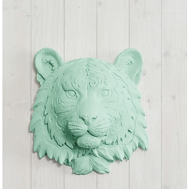 Wall Charmers Siberian Faux Taxidermy Mini Tiger Head Wall D cor; Mint Green