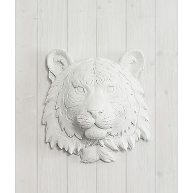 Wall Charmers Siberian Faux Taxidermy Mini Tiger Head Wall D cor; White
