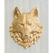 Wall Charmers Sierra Faux Taxidermy Wolf Head Wall D cor; Gold