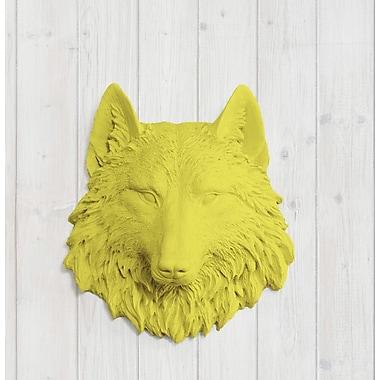 Wall Charmers Sierra Faux Taxidermy Mini Wolf Head Wall D cor; Yellow