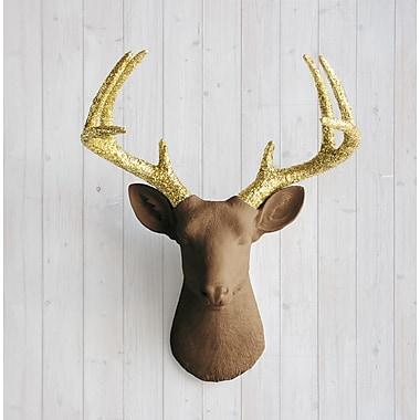 Wall Charmers Virginia Faux Taxidermy Deer Head Wall D cor; Chocolate Brown/Gold Glitter