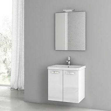 ACF City Play 22'' Single Bathroom Vanity Set w/ Mirror; Glossy White