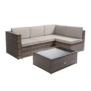 Baner Garden Nat Wicker 3 Piece Sectional Seating Group w/ Cushion; Brown
