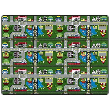 Flagship Carpets Educational Green Places To Go Area Rug; Rectangle 12' x 15'