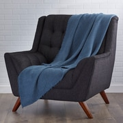 Saro L'Excellence Waffle Weave Linen Throw Blanket; Navy Blue