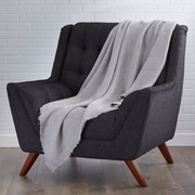 Saro L'Excellence Waffle Weave Linen Throw Blanket; Graphite