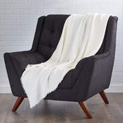 Saro L'Excellence Waffle Weave Linen Throw Blanket; Ivory