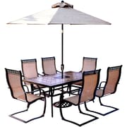 Hanover Monaco 7 Piece Dining Set w/ Table Umbrella and Umbrella Stand by