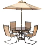 Hanover Monaco 5 Piece Outdoor Dinning Set w/ Table Umbrella and Umbrella Stand