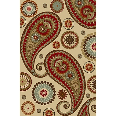 Diagona Designs Anne Paisley Beige/Red Area Rug; 5' x 6'6''