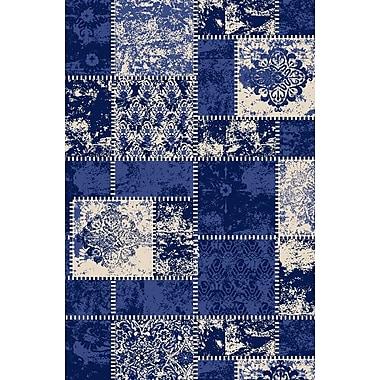 Diagona Designs Anne Patchwork Blue/Ivory Area Rug; 5' x 6'6''