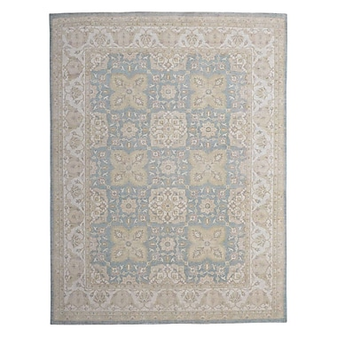 Wildon Home Hand-Knotted Blue/Beige Area Rug
