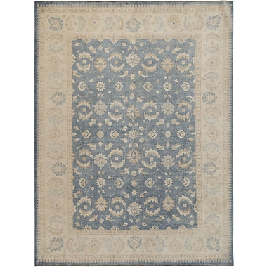 Wildon Home Hand-Knotted Beige/Blue Area Rug
