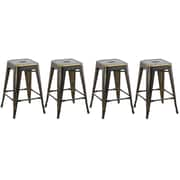 FamisCorp 24'' Stackable Bar Stool (Set of 4)
