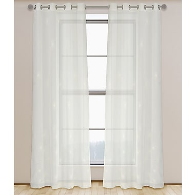 LJ Home Rayne Embroidered Floral Sheer Curtain Panel (Set of 2)