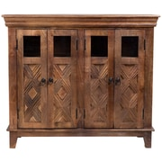 Porter International Designs Plantation Sustainable Mango Wood Cocktail and Wine Bar Cabinet