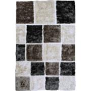 LYKE Home Contemporary Shaggy Hand-Tufted White/Gray/Black Area Rug; 5' x 7'