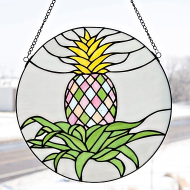 River of Goods Stained Glass Blooming Pineapple Window Panel