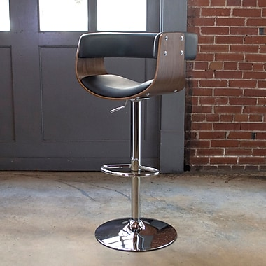 AmeriHome Bent Wood Faux Leather Adjustable Height Swivel Bar Stool