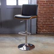 AmeriHome Bent Wood Faux Leather Adjustable Height Swivel Bar Stool