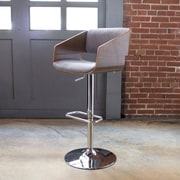 AmeriHome Bent Wood Fabric Adjustable Height Swivel Bar Stool