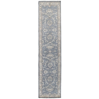 Wildon Home Hand-Knotted Gray Area Rug