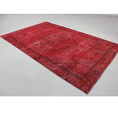 Wildon Home Vintage Hand-Knotted Red Area Rug