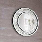 Majestic Mirror Circular Floating Crystal Beveled Panel Wood Framed Wall Mirror