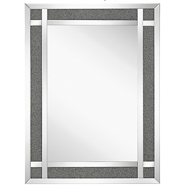 Majestic Mirror Urban Simple Crystal Framed Wall Mirror; 48'' H x 36'' W