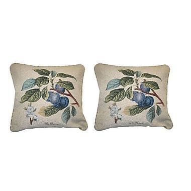 DaDa Bedding Sugar Plum Fruit Visions Elegant Novelty Woven Throw Pillow (Set of 2)